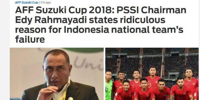 Artikel Fox Sport Asia terkait komentar Edy Rahmayadi