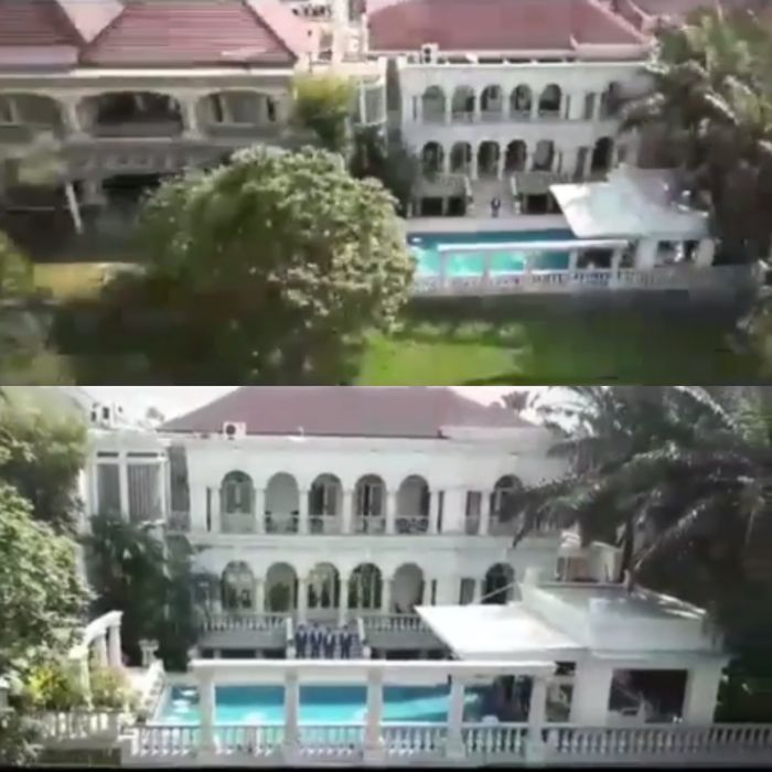 Bagian belakang dan kolam renang rumah Jusup Maruta