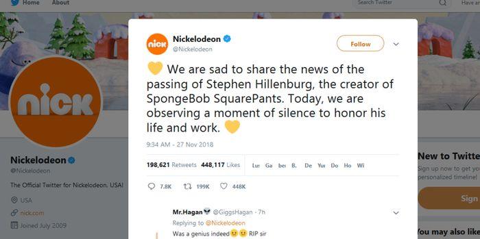 Melalui twitter, pihak Nickelodeon memberitakan meninggalnya Stephen Hillenburg