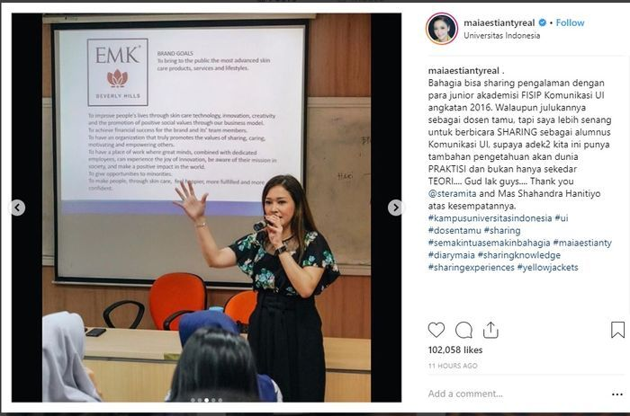 Maia menjadi dosen tamu di Universitas Indonesia