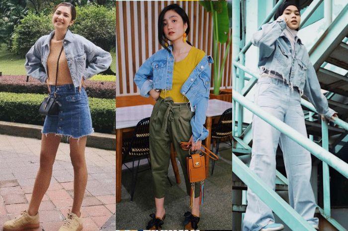 Para selebritis milenial terlihat tampil styish mengenakan paduan jaket jeans model croppty yang lagi hits di dunia fashion