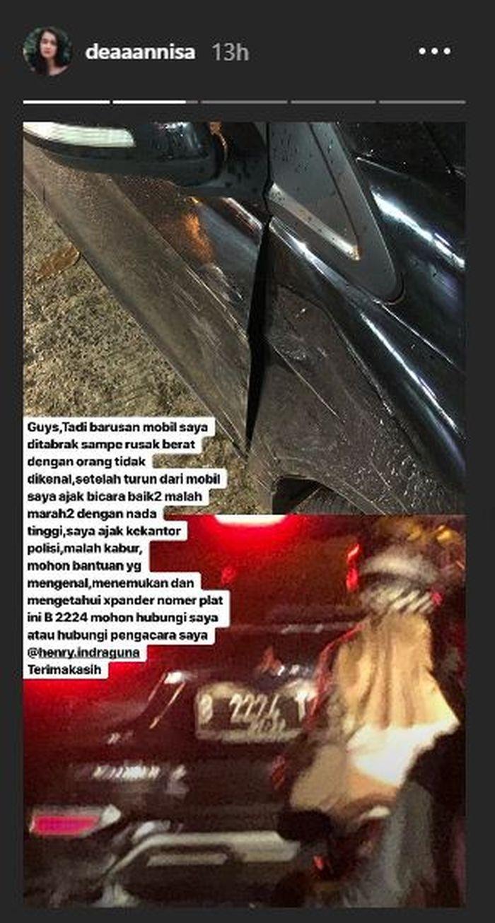 Curhatan Dea Annisa ditabrak mobil