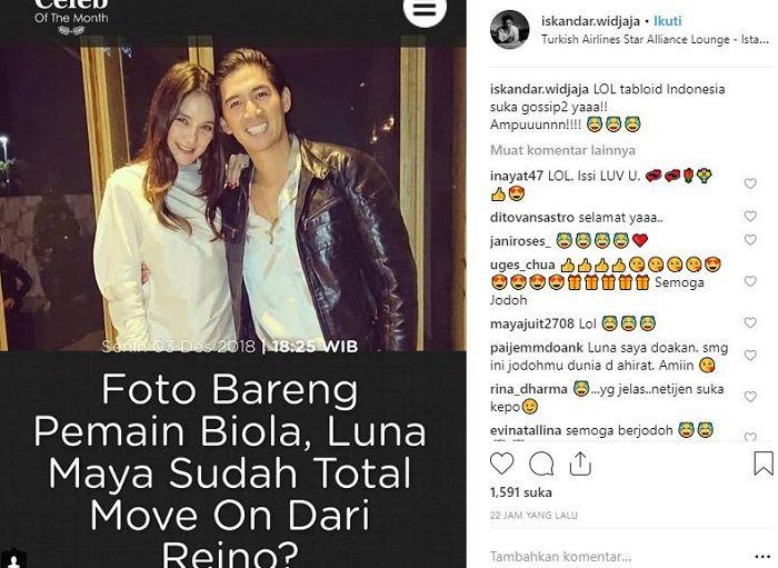 Unggahan Iskandar Widjaja mengomentari kabar kedekatannya dengan Luna Maya