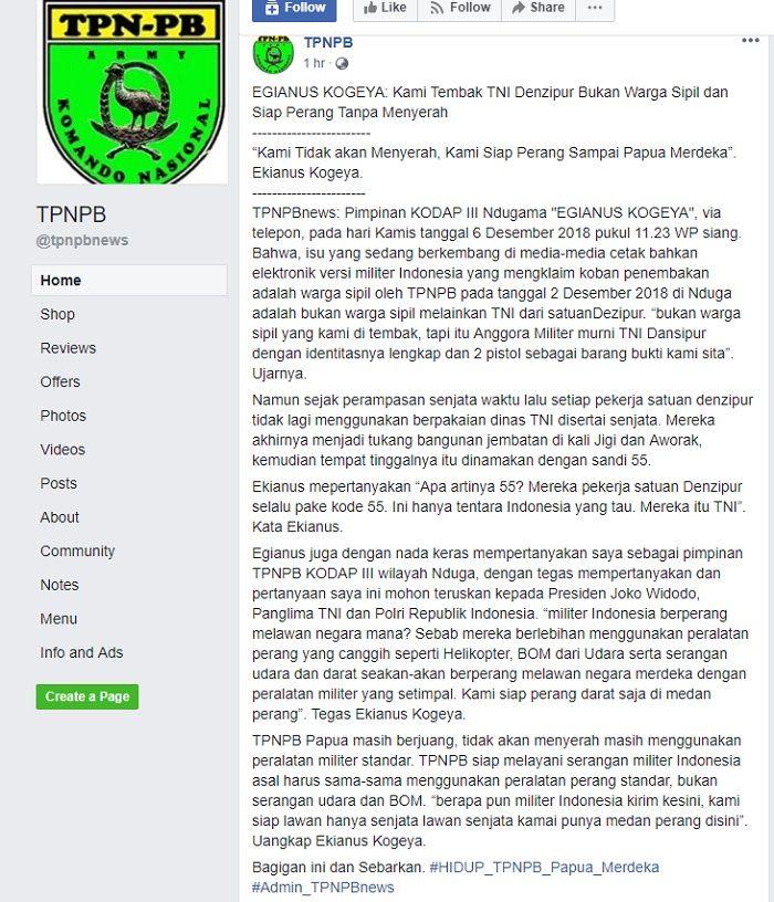Postingan di akun facebook TPNPB