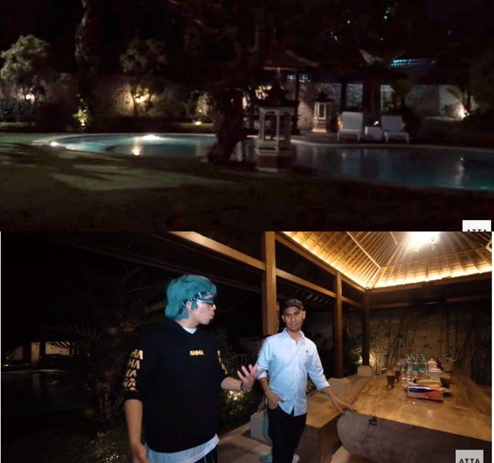 Taman dan kolam renang yang ada di rumah Ajik Krisna