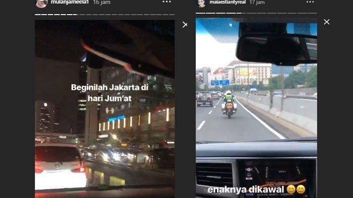 Beda nasib Maia Estianty dan Mulan Jameela di kemacetan.