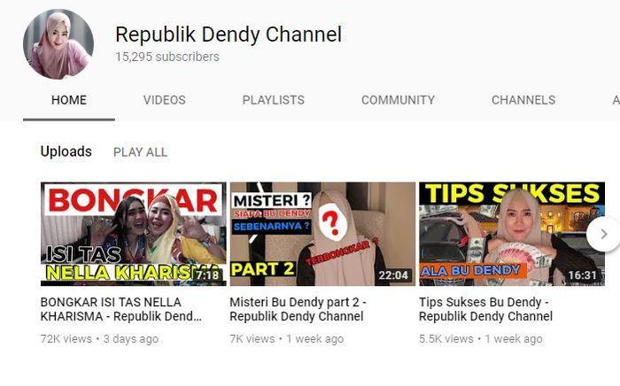 Channel YouTube milik Bu Dendy