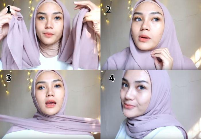 Tutorial hijab untuk tampil dengan tren gaya hijab 2019 model segi empat