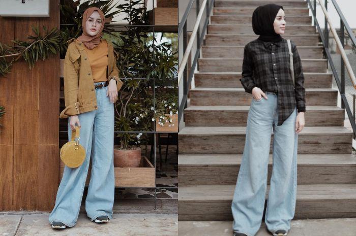 Aghnia Punjabi tampil modis bergaya vintage dengan paduan celana wide leg