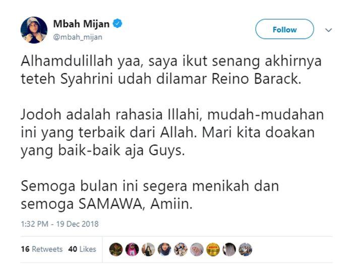 twitter.com/mbah_mijan Postingan Mbah Mijan tentang Syahrini dan Reino Barack.