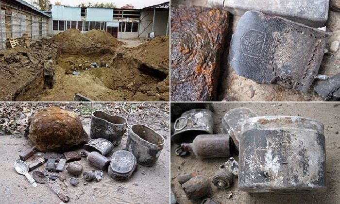 Benda-benda yang ditemukan di dalam pekuburan massal korban perang