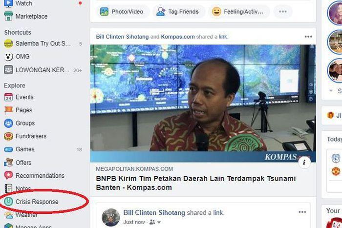 Facebook Crisis Centre Menu