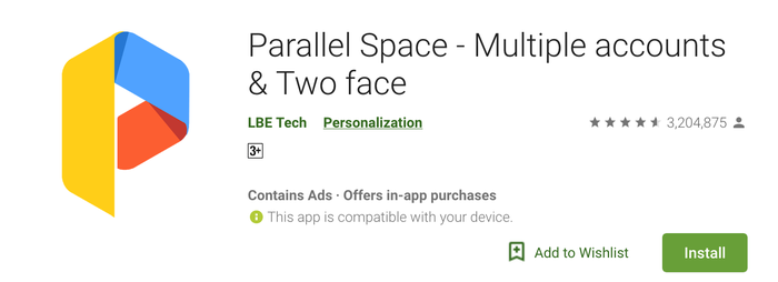 Paralel Space di PlayStore