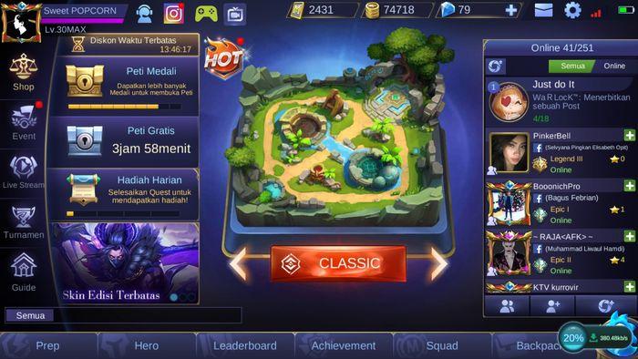 Tampilan home Mobile Legends Season 11