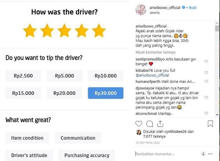 Ari Wibowo ketemu driver Gojek yang bernama sama dengannya