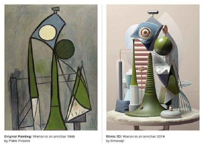 Lukisan Picasso dan karya 3D Omar Aqil