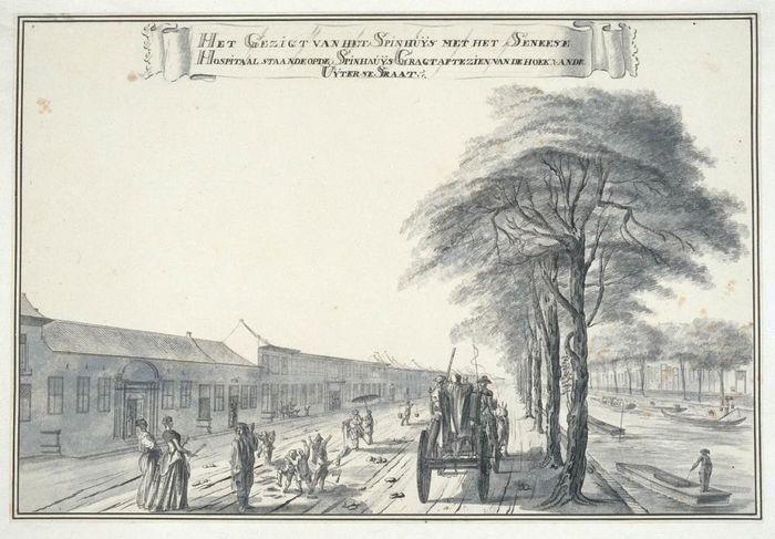 Gezicht op het Spinhuis en het Chinese hospitaal te Batavia