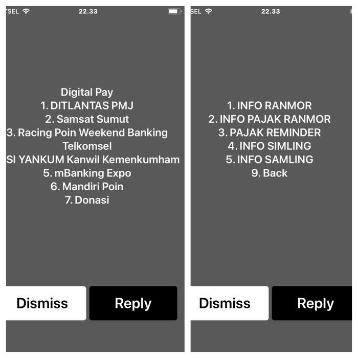 Silakan pilih layanan SMS yang diinginkan