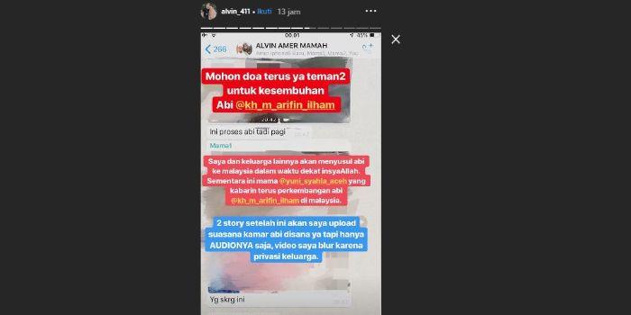 Instagram Story milik Alvin Faiz terkait kondisi sang ayah.