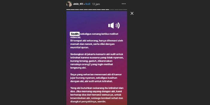 Instagram Story lanjutan milik Alvin Faiz terkait kondisi sang ayah