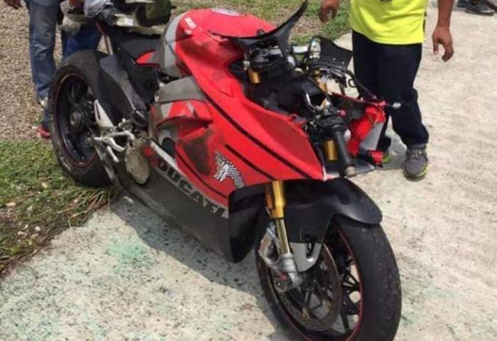 Kondisi Ducati Panigale yang ditunggangi Iqbal