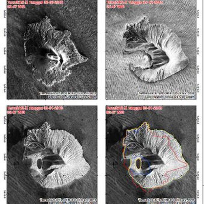 Citra satelit perubahan morfologi Gunung Anak Krakatau.