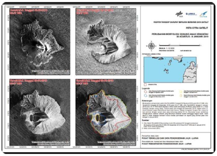 Kondisi morfologi Gunung Anak Krakatau yang diunggah Sutopo Purwo Nugrohho di Twitter