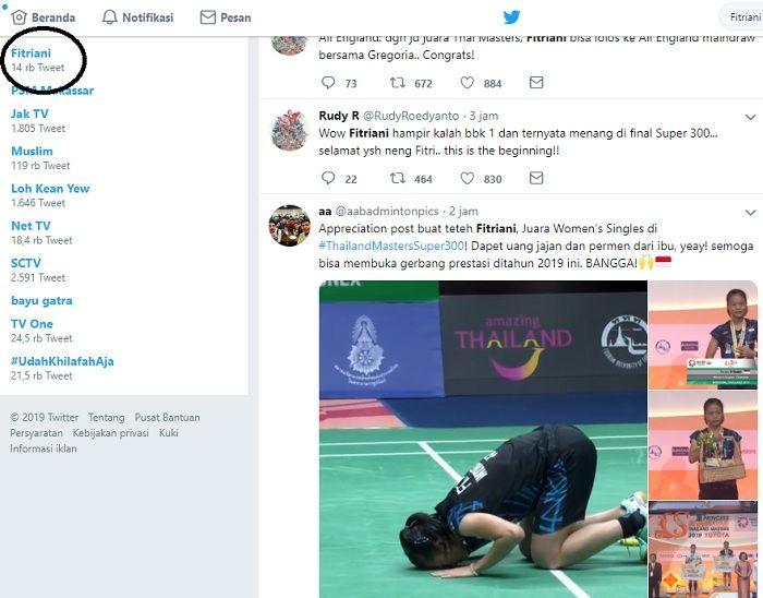 Nama Fitriani, pebulu tangkis putri Indonesia menjadi trending Twitter pasca menjuarai ajang Thailan