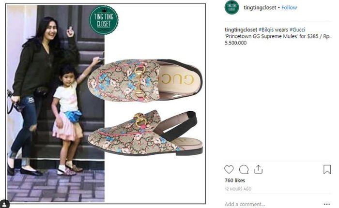 Harga sandal bermerek yang dipakai Bilqis Khumairah saat jalan-jalan bersama Ayu Ting Ting