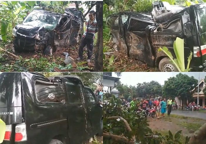 Kondisi mobil pengangkut uang Rp 700 juta di Tulungagung