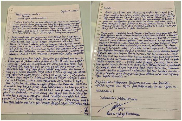 Surat Ahok dari Rutan Mako Brimob, Depok, Jawa Barat.