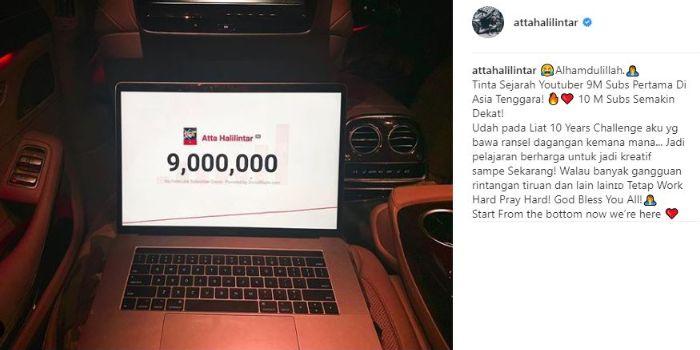 Unggahan Atta Halilintar pada Feed Instagramnya