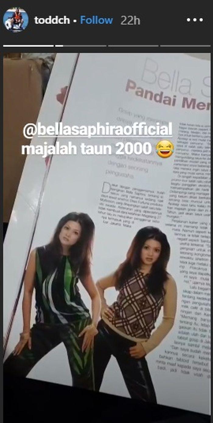 Unggahan Toddy tentang sang ibu tiri, Bella Saphira yang menjadi model majalah beberapa waktu lalu.