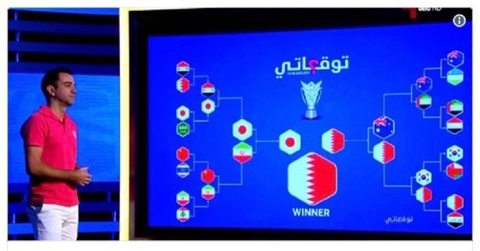 Legenda Barcelona Xavi Hernandez tampil dalam saluran berita Qatar Al Kass untuk memprediksi 8 tim yang  lolos ke perempat final Piala Asia 2019 hingga juara. Menurut Xavi, Qatar akan juara dengan menekuk Jepang di final.
