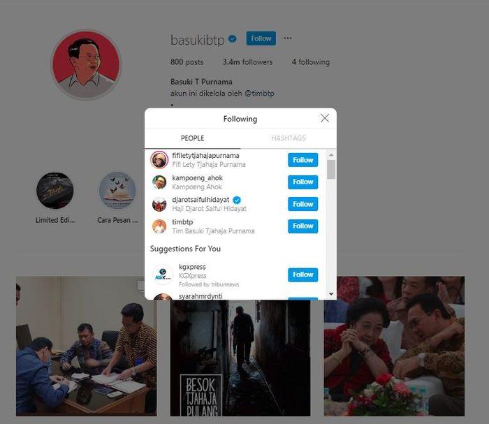 Instagram 'Ahok' BTP