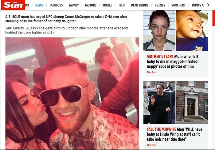 Kabar Conor McGregor ditantang melakukan tes DNA oleh seorang perempuan bernama Terri Murray.