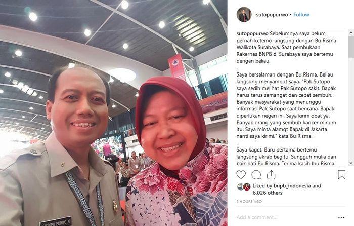 Unggahan Sutopo Purwo saat bertemu dengan Risma