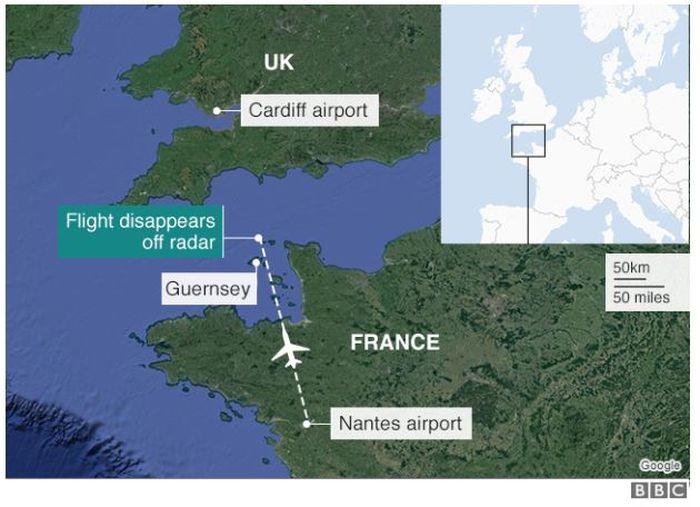 Ilustrasi peta perkiraan jatuhnya pesawat Emiliano Sala.