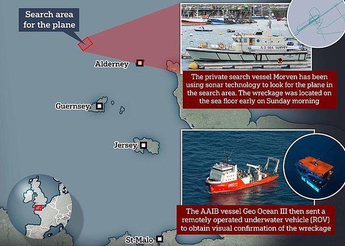 Peta pencarian pesawat yang ditumpangi Emiliano Sala.