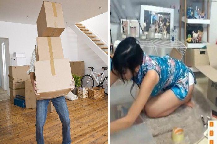 ilustrasi saat Miyuna bantu kliennya mengepaki barang