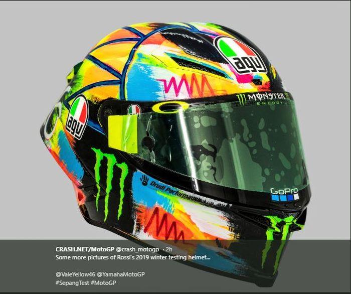 Helm Baru Valentino Rossi di Tes Pramusim MotoGP 2019.