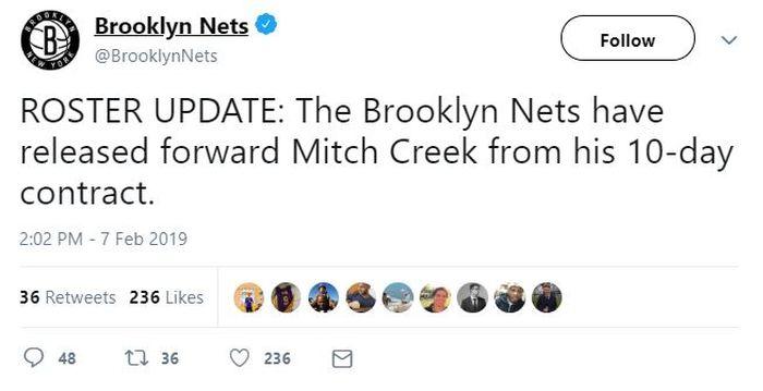 Brooklyn Nets Telah mengonfirmasi lepas Creek pada laman twitter mereka