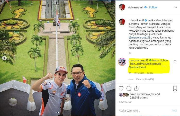 Marc Marquez menyampaikan terima kasih menggunakan bahasa Sunda setelah menerima sambutan dari Gubernur Jawa Barat Ridwan Kamil.