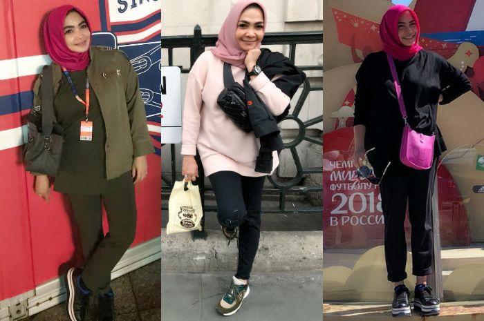 Deretan penampilan simpel rieta Amilia Mama Nagita Slavina saat pakai fashion item mewah