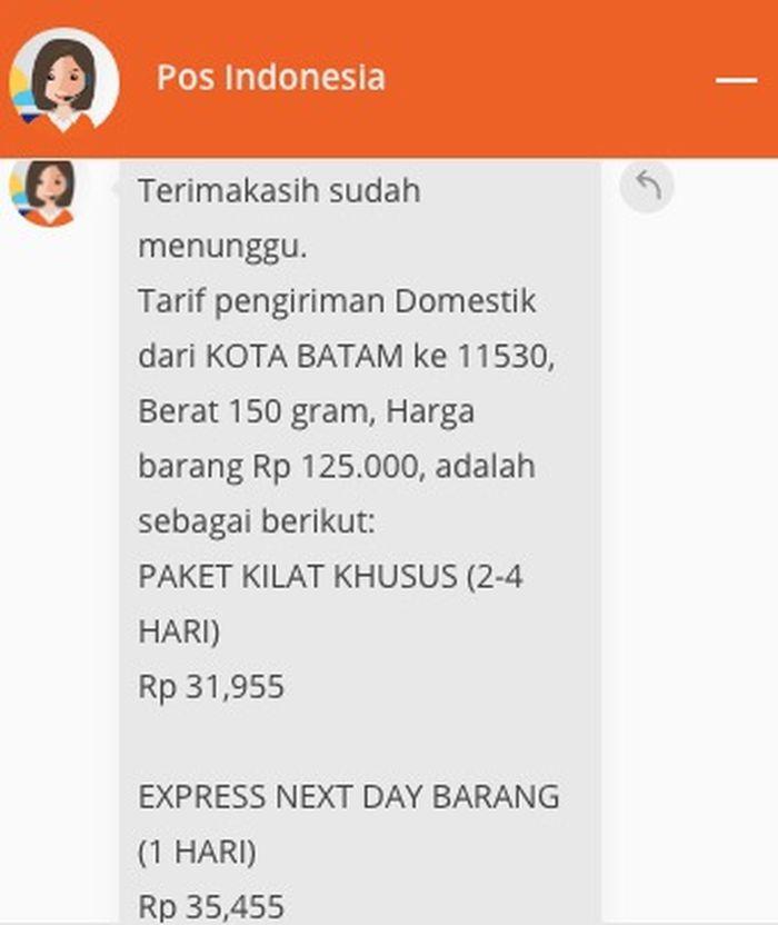 Tarif pengiriman domestik dari Kota Batam