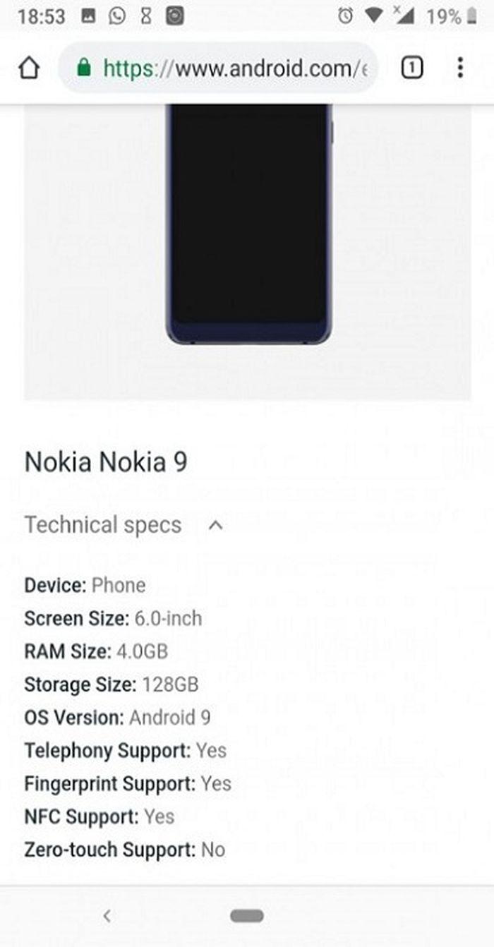 Bocoran Spesifikasi Nokia 9 Pureview