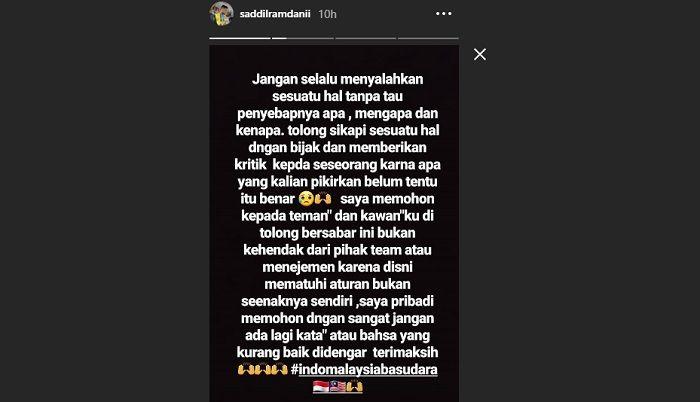 Instastory Saddil Ramdani mengenai polemik timnas U-22 Indonesia dengan Pahang FA dan Federasi Sepak Bola Malaysia (FAM).