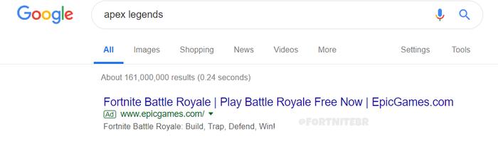 Iklan Fortnite di pencarian Apex Legends di Google
