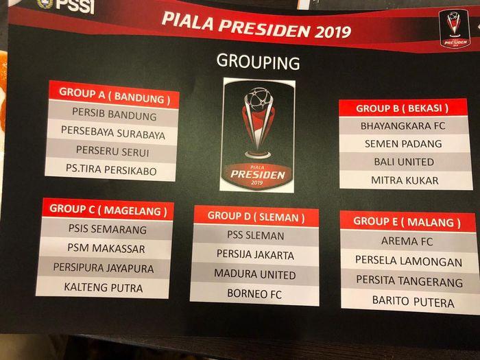 Hasil Drawing Piala Presiden 2019 yang beredar