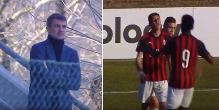 Mantan kapten AC Milan, Paolo Maldini, menyaksikan putranya, Daniel, yang beraksi dan mencetak gol untuk tim primavera saat melawan Genoa pada Minggu (18/2/2019).